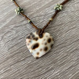 Leopard Cowrie Shell Heart Pendant Beaded Necklace